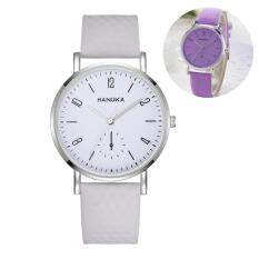 Color Changing Faux Leather Band Big Dial Quartz Women Wrist Watch (Purple) Malaysia