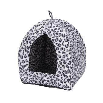 Comfortable Folding Pet House Kennel Dog Cat Bed Cave Tent Pet Products Pet Supplies Black&White