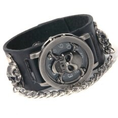 Cool Gift Quartz Rock Punk Skull Skeleton PU Band Watch Black Malaysia