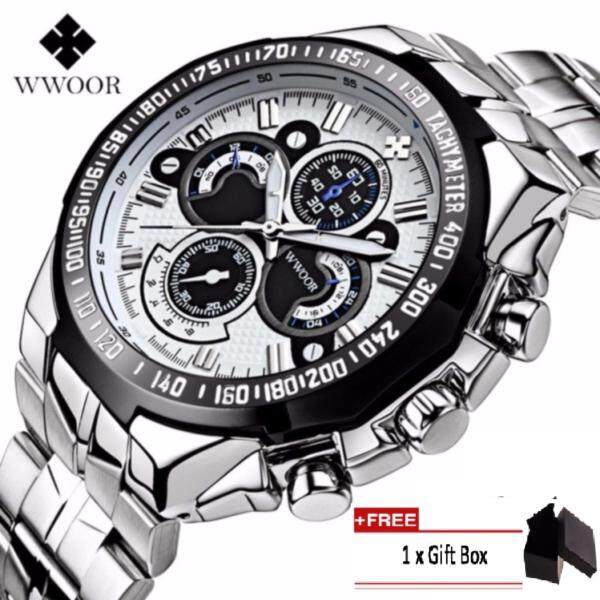 Coowalk Men Watches Birthday Gift Luxury Full Stainless Steel Wristwatch Men Clock Military Watches Male Luminous Quartz Watches Waterproof Sports Watch + Gift Box - White Black Malaysia