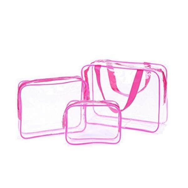 Cothyen Membawa Jelas Perlengkapan Mandi Perjalanan Tas Bandara Maskapai Sesuai Tas barang Di Bagasi Perjalanan Ransel untuk Botol Cairan Pakaian Dalam Handuk, 3 Pack Berwarna Merah Muda-Internasional