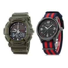 (Couple) Curren 8195 Sports Watches Quartz Matte Dial Watches Men Multicolor - Blue Red  + SKMEI 1050 Mens Military Solar Power LED Sports Watch (Green) Malaysia