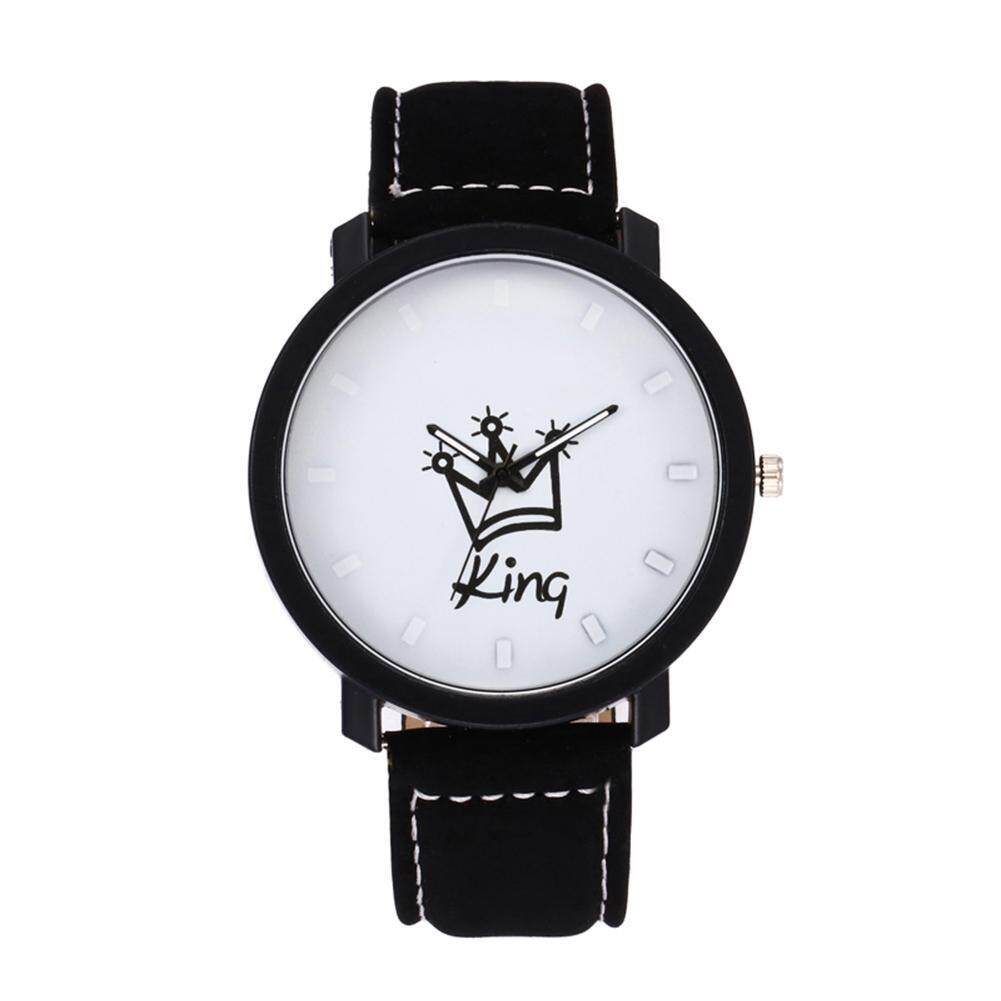 Crown King Queen Couples South Korea Velvet Big Dial Watch(White) - intl