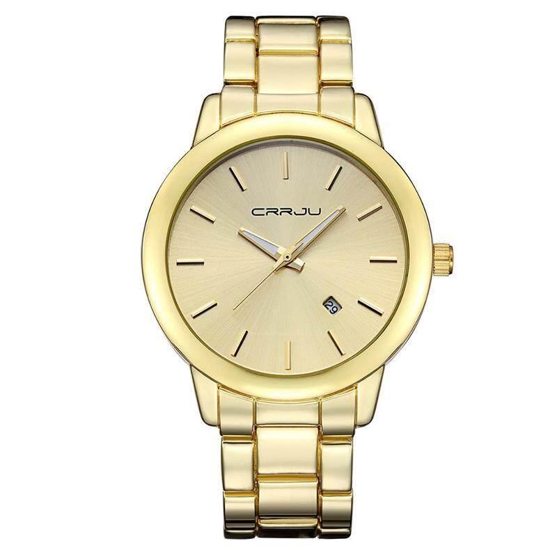 CRRJU 2210 Fashion Men Quartz Watch Simple Stainless Strap Wrist Watch Gold Malaysia
