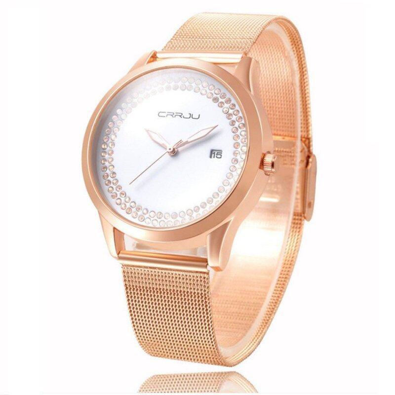 CRRJU Vintage Rose Golden Ladies Analog Quartz Wrist Watch with Rhinestone Decor Malaysia