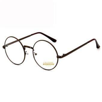 CRUOXIBB Vintage Women Round Clear Lens Eyeglasses Gold Metal Frame Flat Mirror Korean Sun Glass Unisex Reading Conputer Eyewear(Bronze Color)