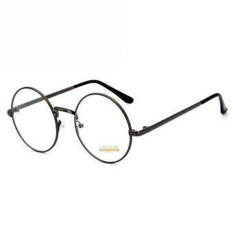 CRUOXIBB Vintage Women Round Clear Lens Eyeglasses Gold Metal Frame Flat Mirror Korean Sun Glass Unisex Reading Conputer Eyewear(Gun Black)
