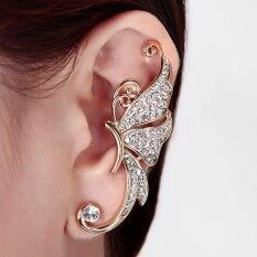 Crystal Butterfly Wings Ear Clip Clamp Earring Fashion Jewelry White By Viviroom.