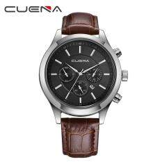CUENA Men Casual Checkers Faux Leather Quartz Analog Wrist Watch With Calendar Malaysia