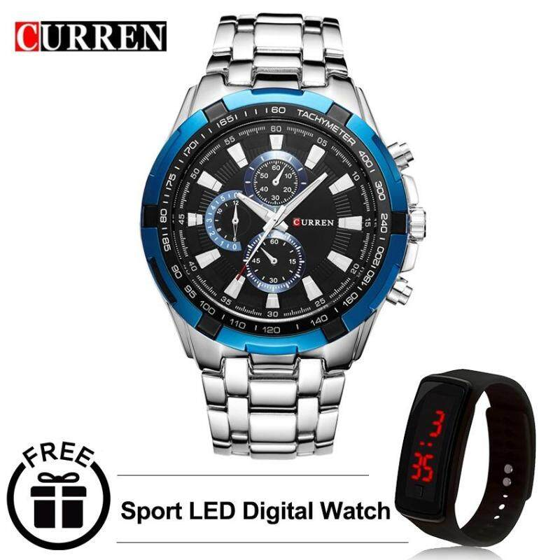 Curren 8023 Mens Stainless Steel Watch (Blue Black) FREE LED Digital Watch Malaysia
