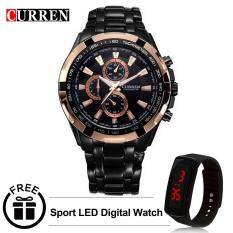 Curren 8023 Mens Stainless Steel Watch (Gold Black) FREE LED Digital Watch Malaysia