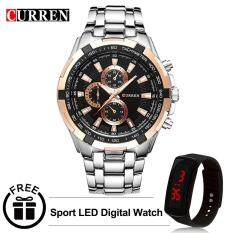 Curren 8023 Mens Stainless Steel Watch (Gold Black Silver) FREE LED Digital Watch Malaysia