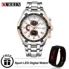 Curren 8023 Mens Stainless Steel Watch (Gold White) FREE LED Digital Watch Malaysia