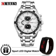 Curren 8023 Mens Stainless Steel Watch (Silver White) FREE LED Digital Watch Malaysia