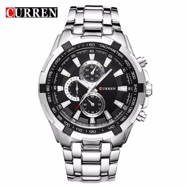 Curren 8023 Mens Silver Black Stainless Steel Watch Malaysia