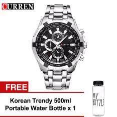 Curren 8023 Mens Silver Black Stainless Steel Watch FREE Water Bottle MyBottle Malaysia