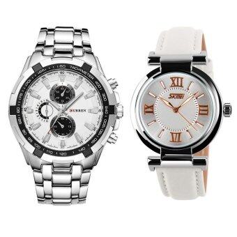 Curren 8023 Men s Stainless Steel Watch (Silver White) + SKMEI 9075  Ladies s Fashion Elegant ab0ae8ea08b