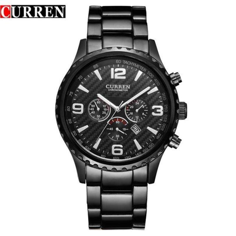 Curren 8056 Fashion Mens Stainless Steel Quartz Watches Casual Man Clock Watch Black Malaysia