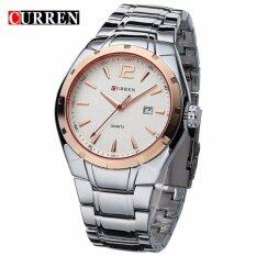 Curren 8103 Mens Business Casual Date Display Stainless Steel Watch (Gold White) Malaysia