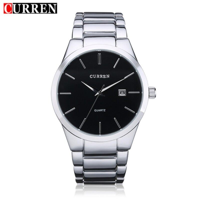 CURREN 8106 Fashionable Ultra-thin Mens Stainless Steel Business Casual Sport Waterproof Quartz Watch Wristwatch with Date Display Malaysia