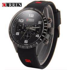 Curren 8167 Mens Leather Strap Watch  - Full Black Malaysia