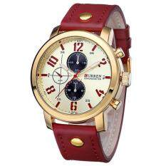 CURREN 8192 Men's Watch Sports Quartz-Watch Fashion Military Leather Strap Wristwatch Red Gold Gold