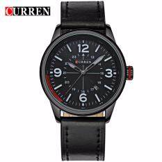 Curren 8215 Mens Military Fashion Date Display Leather Watch (Full Black) Malaysia