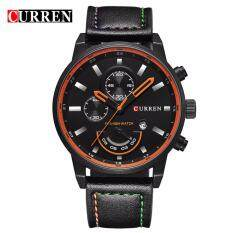 CURREN 8217 Mens Military Fashion Calendar Quartz Leather Watch (Black) Malaysia