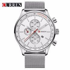 Curren 8227 Mens Business Fashion Date Display Stainless Steel Watch (Silver White) Malaysia