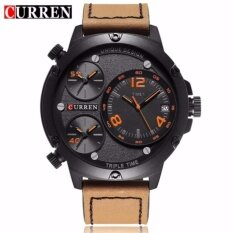 CURREN 8262 Mens Multiple Time Zones Auto Date Display Casual Sports Wrist Watch- Brown Orange Malaysia