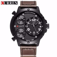 CURREN 8262 Mens Multiple Time Zones Auto Date Display Casual Sports Wrist Watch- Brown White Malaysia