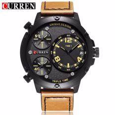 CURREN 8262 Mens Multiple Time Zones Auto Date Display Casual Sports Wrist Watch- Brown Yellow Malaysia