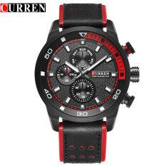 CURREN Brand New Top Fashion Casual Quartz Wrist Watch Wrist Watches Round Leather Band Mens Quartz Water Resistant 30 M 8250 - Black + Black+ Black Malaysia