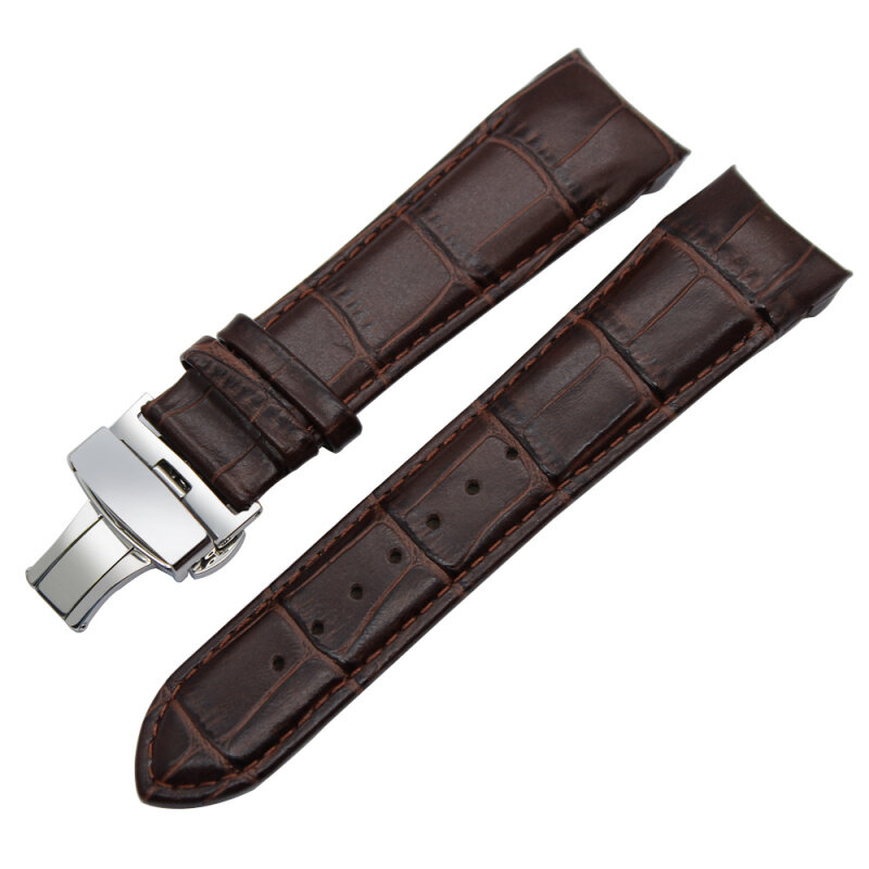 Curved End Genuine Leather Watchband 23mm for T035 Watch Band Butterfly Clasp Strap Wrist Bracelet Black Brown leather Watchband Watch Accessories male female watchbelt Malaysia