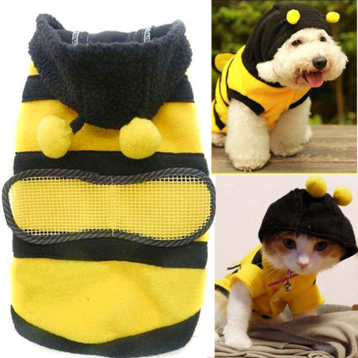 Cute Bee Design Pet Dog Polar Fleece Cloth Clothing Cat Clothes Puppy Hoodie Plush Warm Winter Coat Apparel Costume Accessory for Dogs Pets with Hat Size S