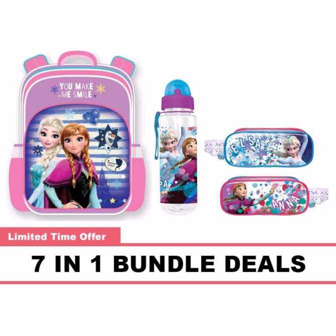 Disney Princess Frozen Pre School Bag, Water Bottle, Pencil Bag, Stationery 7 In 1 Bundle Deals