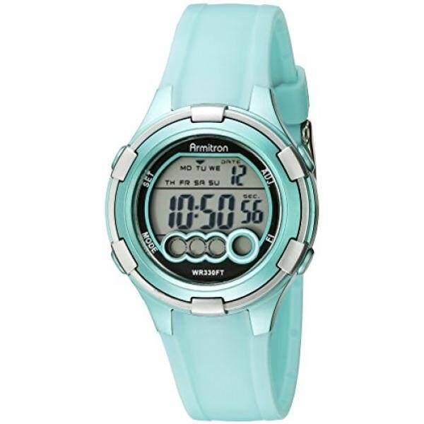 [DNKR]Armitron Sport Womens 45/7053LTG Digital Light Green Resin Strap Watch - intl