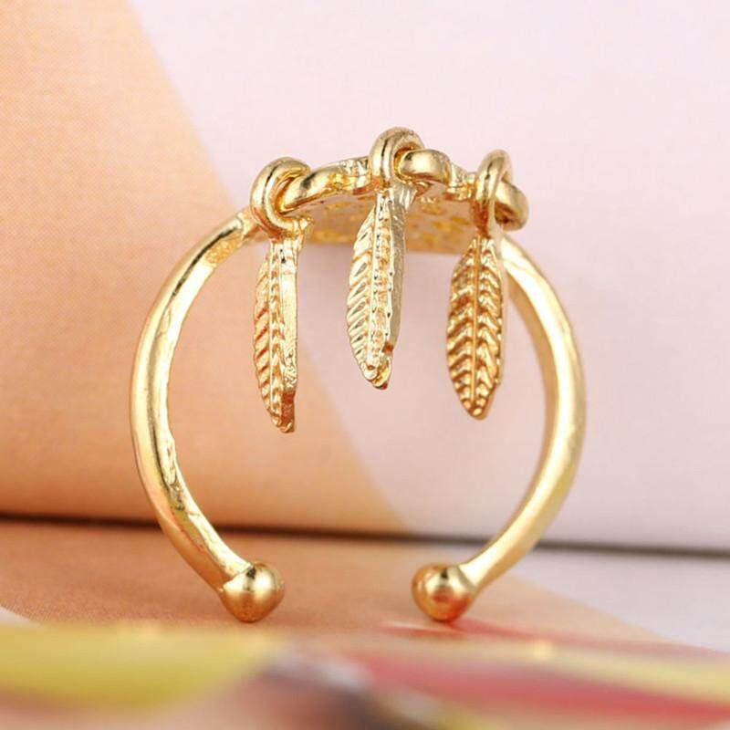 Dreamcatcher Rings Feather Charm Pendant Dream Catcher Wish Ring GD - intl