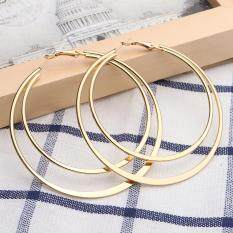 Dual Big Round Women Alloy Hoop Earrings Charm Silver Gold Jewelry Gift Wedding Gold By Autoleader.