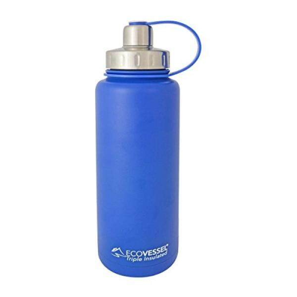 EcoVessel Boulder Dual Opening Insulated Stainless Steel Water Bottle with Tea, Fruit and Ice Strainer, 32 oz., Blue - intl