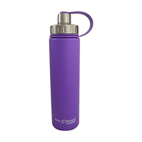 EcoVessel BOULDER TriMax Dual Opening Insulated Stainless Steel Water Bottle with Tea - Fruit and Ice Strainer - 20 oz. - Purple - intl
