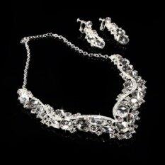 Elegant Luxurious Diamante Necklace + Earring Set Wedding Party Rhinestone