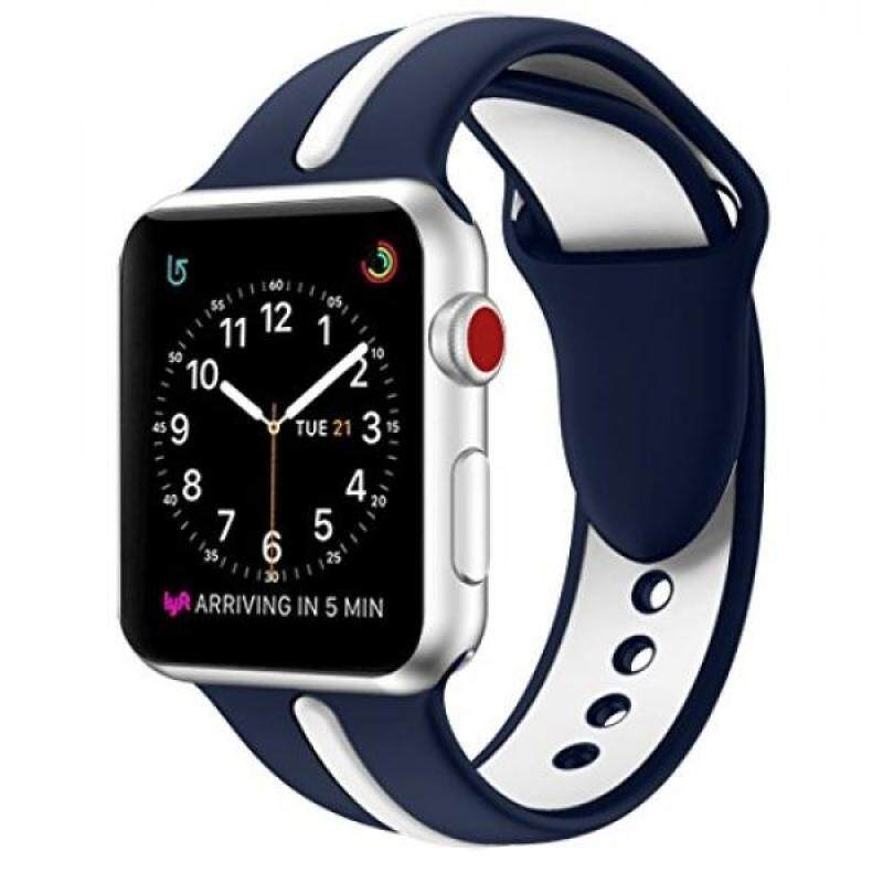 EloBeth for Apple Watch Band, Soft Silicone Sport Style Replacement Wrist Strap Stripe Color Splicing for Apple Watch Bands Series 3/Series 2/Series 1 (Blue/White 42mm) Malaysia