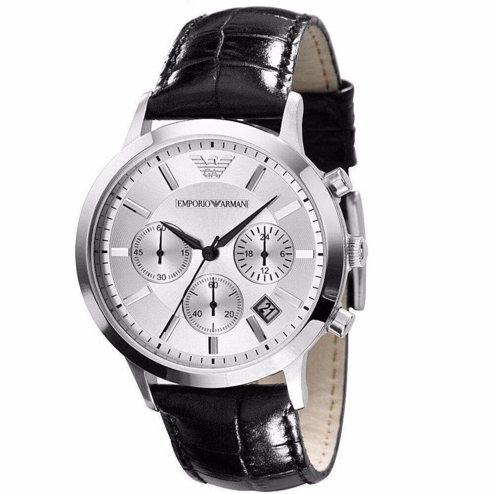 (Ready Stock) Original Emporio Armani_Men's Classic White Dial Chronograph Fashion casual watchAR2432