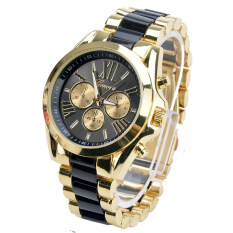 ETOP Menswear Quartz Full Steel Watch Women Watches Casual Dress Ladies Wrist Watch Gold Dial Alloy Watch (Black) Malaysia