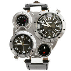 ETOP Stylish New Fashion Men Dual Time Zones Movements Sports Compass Multiple Time Zones Watch (Silver) Malaysia
