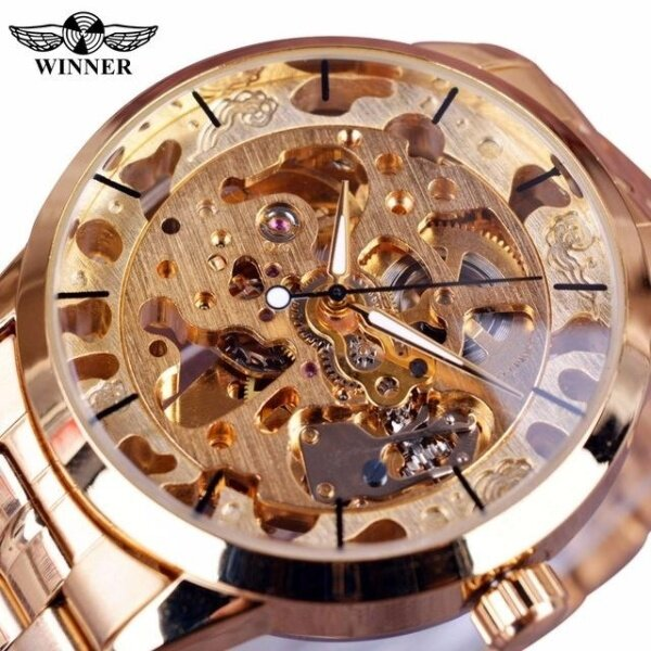 Famous Brand Winner Luxury Fashion Vintage Steel Stainless Black Dial Men Mechanical Skeleton Watch Malaysia