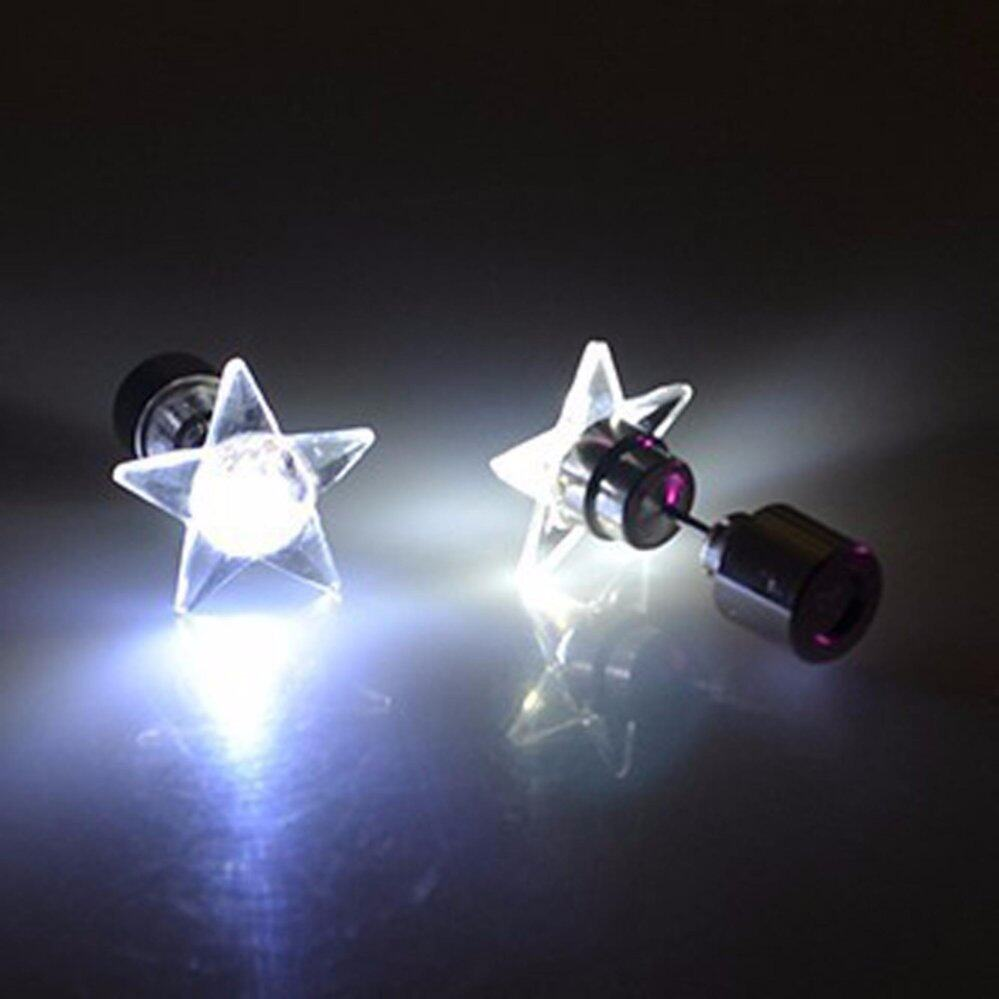 Fancyqube 1 Pair Charm LED Earring Light Up Crown Glowing Crystal Rhinestones Stainless Eardrop Ear Stud