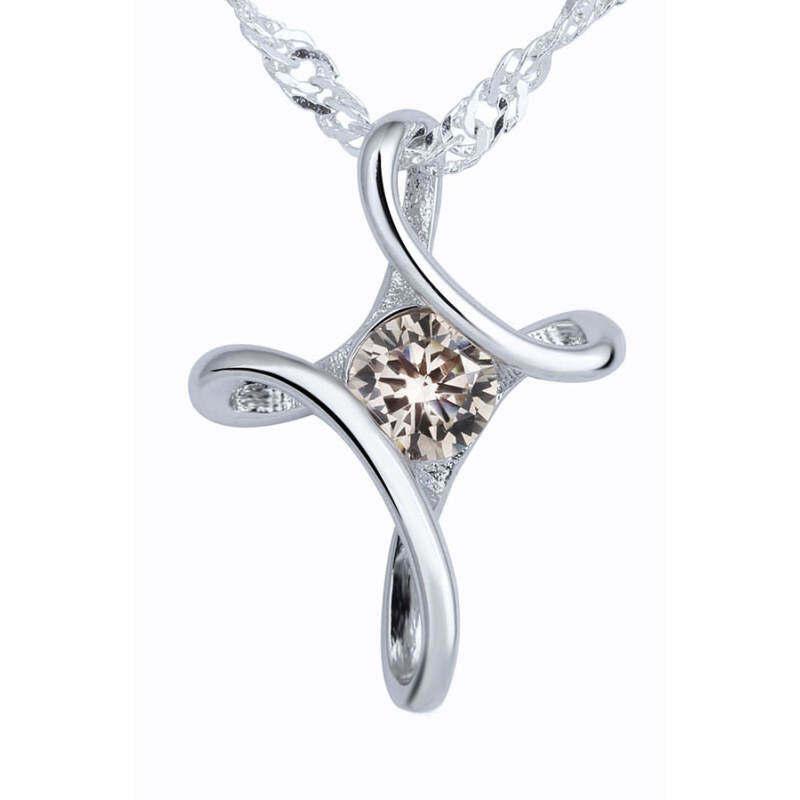 FF8866YY 925 Perak Berkilau Geometris Berbentuk Jimat Berlian Imitasi Kalung Pelat Perak Liontin Perhiasan Hias Champaign