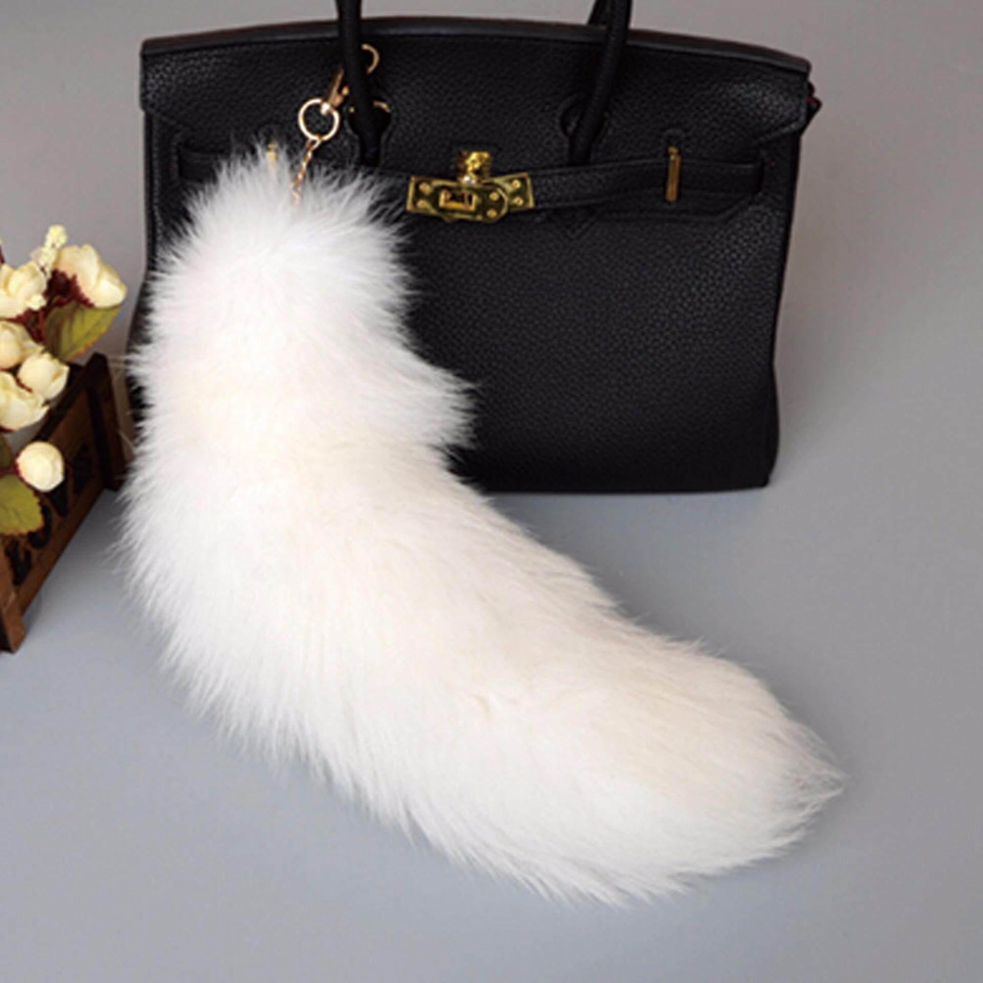 Fancyqube Arctic Fox Tail Fur Keychain Car Bag Charm Key Ring Hook Gift H02-Intl